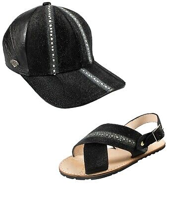 Package Exotic Genuine Stingray Leather Huarache and Cap Color Black