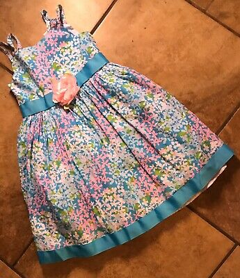 Flower Girl Dresses Teal (YOUNGLAND~SZ6X GIRLS SLEEVELESS MULTICOLORED FLOWERED DRESS W/TEAL SASH &)
