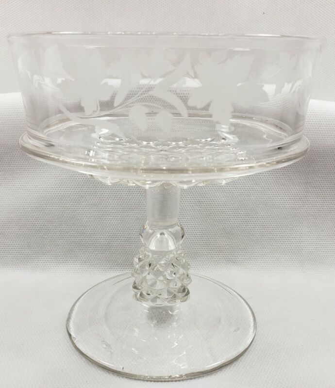 Vintage Etched Compote/Custard Hocking Glass 1930
