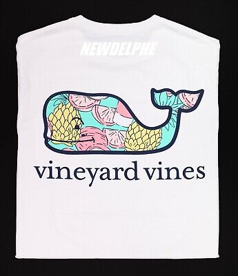 Tropical Tee (Vineyard Vines Men's SS Whale Pocket Crew T-Shirt Tee