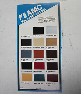 1982 amc concord spirit eagle nos color chart brochure