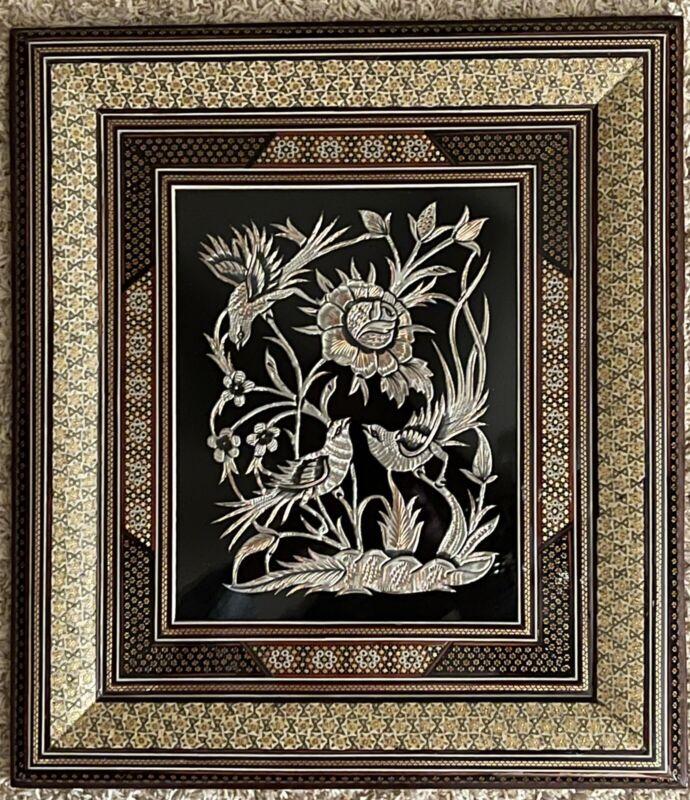 Vintage Middle Eastern Persian Khatam Frame W/Handmade Copper Art 50x44 cm