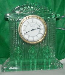 WATERFORD CRYSTAL LARGE MANTLE CLOCK WITH WHITE FACE DIAL IRELAND