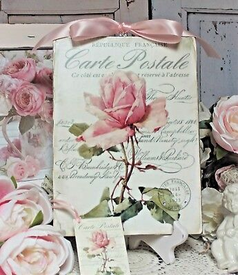 """Shabby Chic French Fatherland ~ Cottage style ~ Wall Decor Sign ~ """"Carte postale"""""""