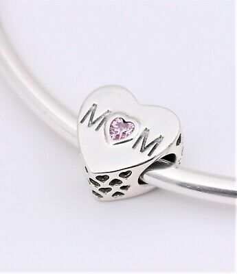 New Authentic PANDORA Pink Mom Mother Heart Love Charm, Pink CZ #791881PCZ Pouch Mom Pink Heart