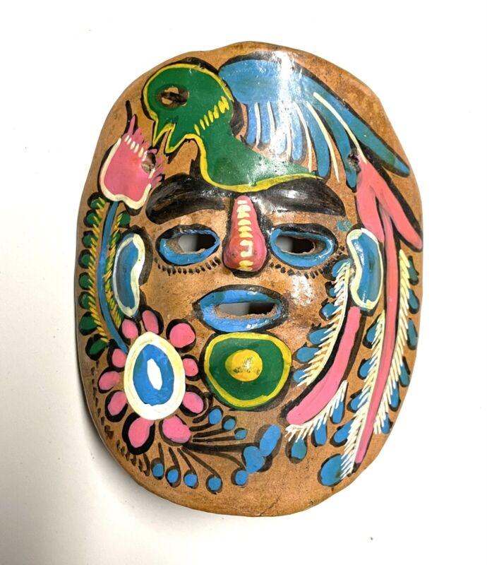 Vintage Hand Painted Mexican Art Terra Cotta Clay Pottery Mask Village Folk Art