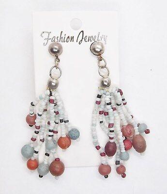 Boho Hippy Beaded Dangle 3 in. Pierced Earrings ... #723 - Hippie Earrings