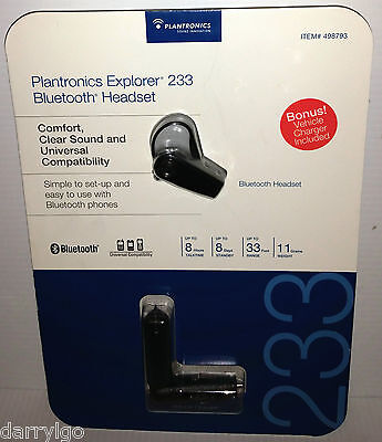PLANTRONICS EXPLORER 233 BLUETOOTH HEADSET UNIVERSAL w/ CAR CHARGER & AC ADAPTER Bluetooth Headset Car Charger Adapter
