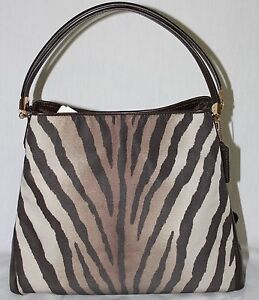 Coach Madison Small Phoebe Shoulder Bag In Zebra Print Fabric 58