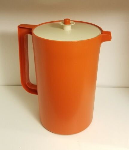 Vintage Orange Tupperware 1 Gallon Pitcher #1416-4 With Push Button Lid