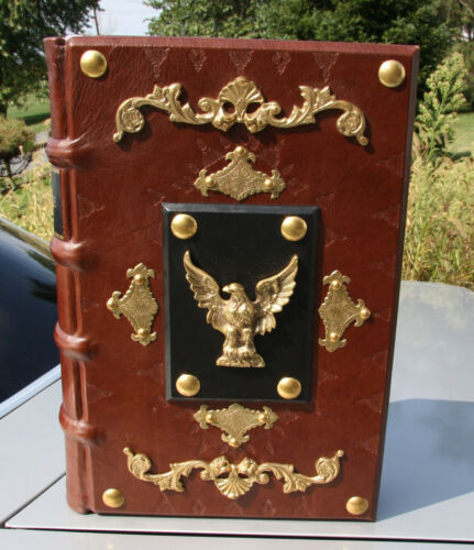"""**30LBS.** 1827 IMMENSE antique Holy Bible ## 20"""" TALL ## HAND CRAFTED COVER"""