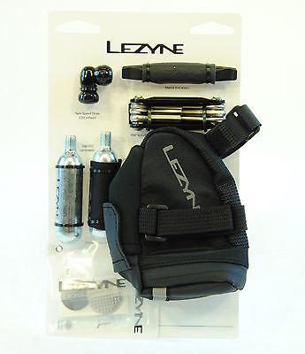 Lezyne Twin Drive Caddy Bike Kit w/CO2 Inflator,Tire Lever,Saddle Bag,Multi Tool