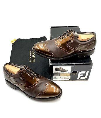 FJ FootJoy Classics Dry Premiere Bronze  Brown Saddle Golf Shoe Men's 10 D 50687