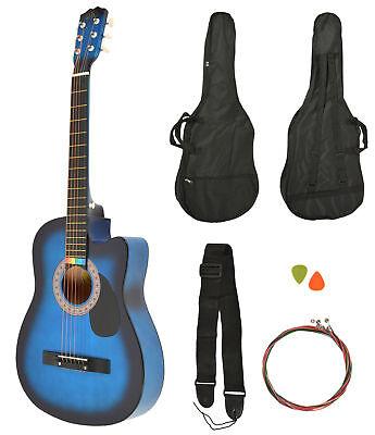 Akustik Western Gitarre Westerngitarre Blau Sunburst + Gitarrentasche + Gurt NEU