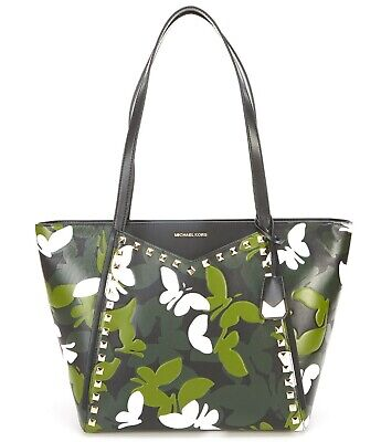 Michael Kors Whitney Large Butterfly Camo Print Shoulder Tote Bag Leather -