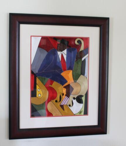 Vintage African Silk Thread Art Portrait of Jazz Bassist - Emmanuel Yeboah