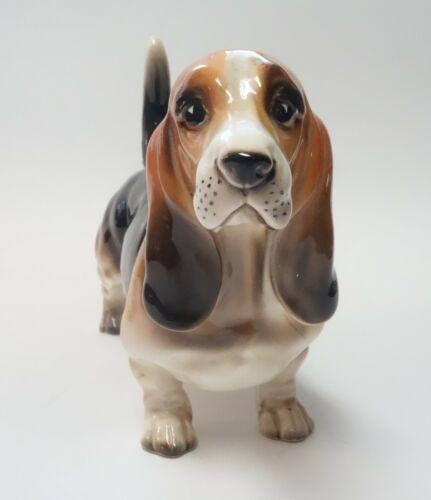 """Vintage Shafford Basset Hound Dog Figurine Brown & Black Porcelain 8"""" Japan #167"""