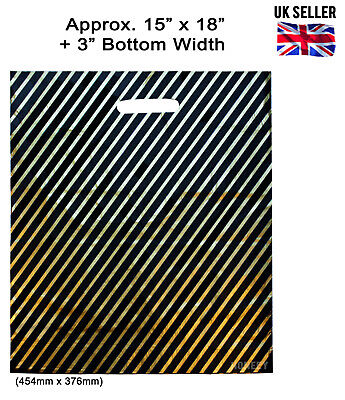 100x LARGE BLACK AND GOLD CARRIER BAGS FASHION STRIPED RETAIL PLASTIC 15