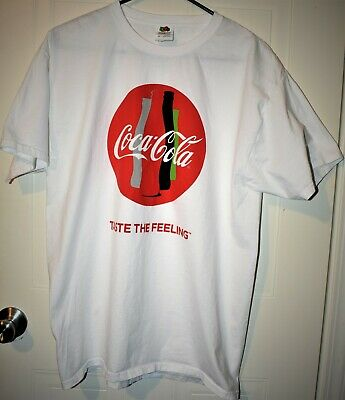 Vintage look Coca Cola 'Taste The Feeling' Men's T-Shirt Size L White