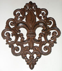 Beautiful Large cast iron FLEUR DE LIS wall decor SIGN plaque