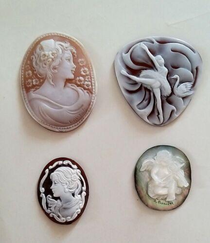 4 BEAUTIFUL SHELL CAMEOS