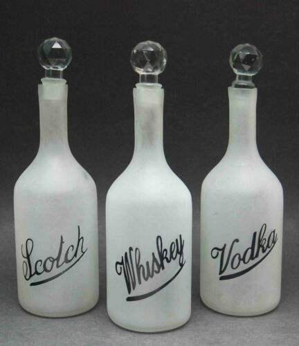 3 ANTIQUE DECO FROSTED LIQUOR BOTTLE DECANTER HAND BLOWN SCRIPT CRYSTAL STOPPER