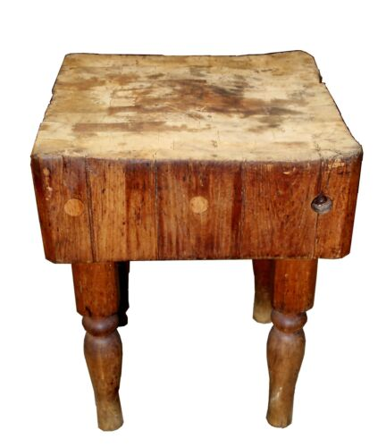 Antique Maple Square Kitchen Butcher Block Table