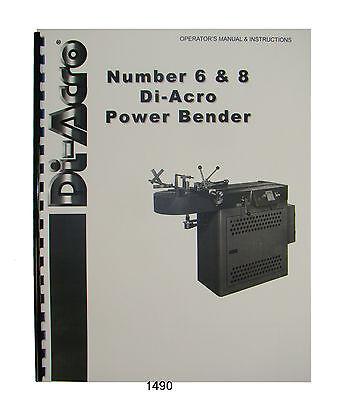 Di-acro No. 6 8 Power Bender Operator Instruction Manual 1490