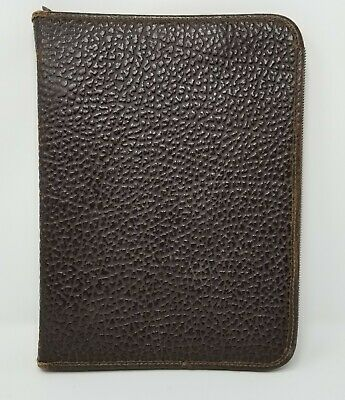 Vtg Genuine Leather Brown Pebble Zippered 3-ring Binder Portfolio Notebook 14x10