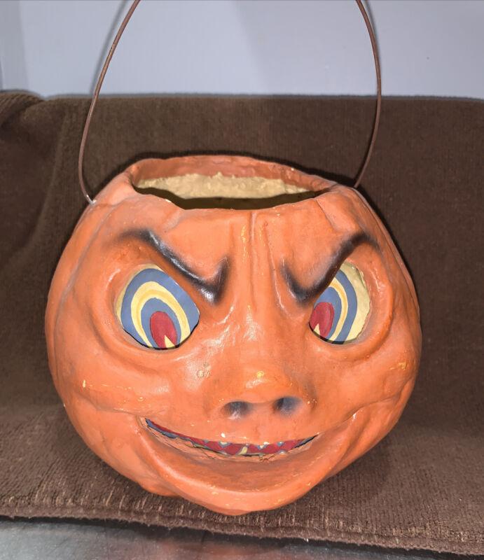 Halloween Pulp Paper Mache Pumpkin Bucket