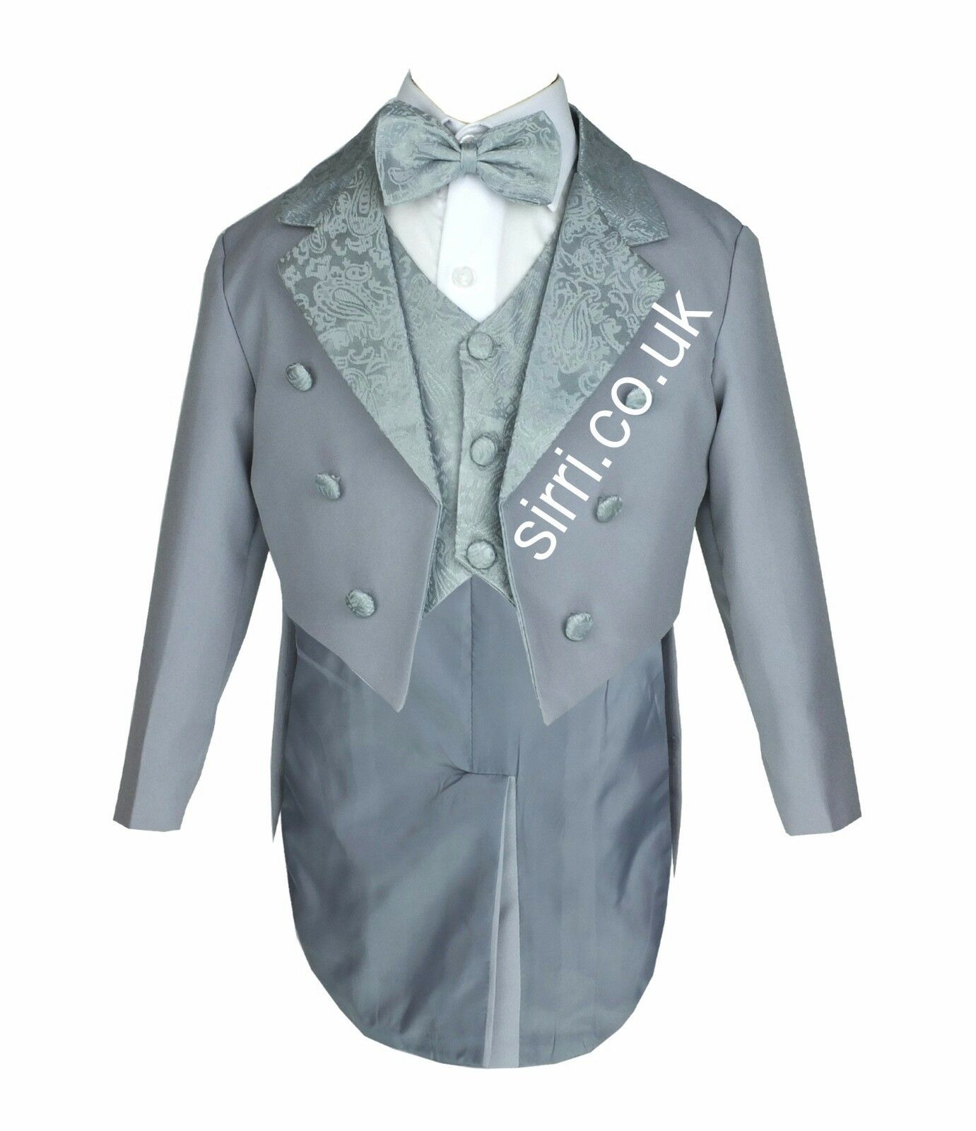 Baby Boys Grey Tuxedo Tail Suit 5 Pieces Christening Wedding Page ...