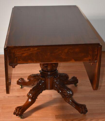 1830s Antique American Empire Mahogany Drop Leaf Console / Breakfast Table