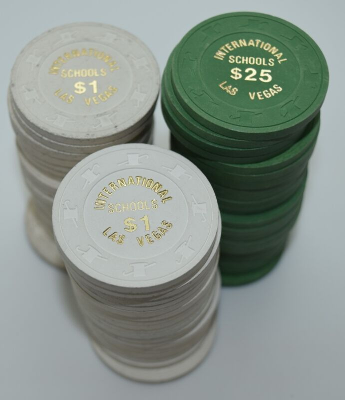 Set of 63 International Dealing School $1-$25 Poker Chips H&C Paul-son 1970