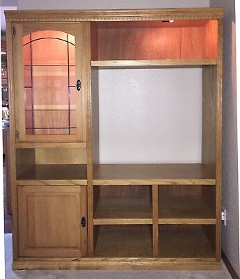 Solid Oak Wall Unit – Bookcase/TV Entertainment Center for sale  Greeley