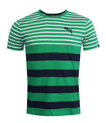 Puma FUN Dry Striped Mens Tee T-Shirt Short Sleeved Top Green 838853 09 RW47