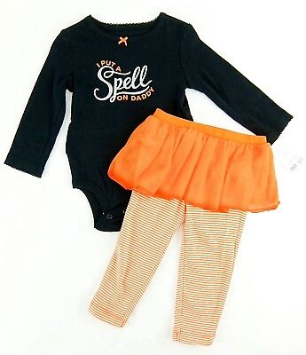 Carters Girls 2 Pc Halloween Bodysuit Leggings I Put a Spell on Daddy Size 12M