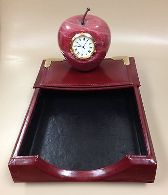 Desk Set Leather Paper Container And Marble Apple Watch