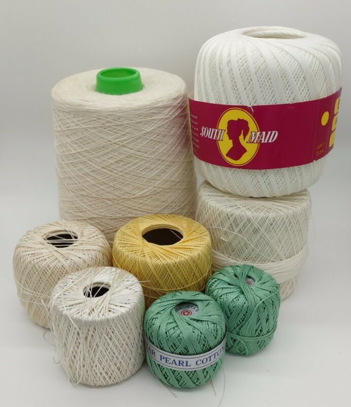 Assorted Vintage Cotton Crochet Knitting Thread Doilies Tatting LOT of 8 Cream