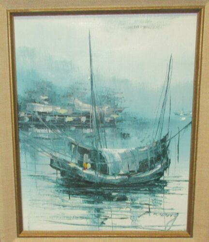 P.WONG FISHING SAIL BOAT ORIGINAL OIL ON CANVAS SEASCAPE PAINTING