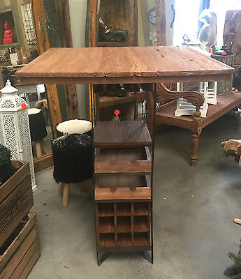 Bartisch mit Weinfach Stehtisch Teak/Metall Möbel Wohnen Holz NEU Tisch
