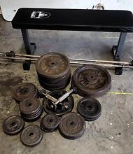 180kg of Weights with Bars Bells, Bench, and Pull Up Bar Bolwarra Heights Maitland Area Preview