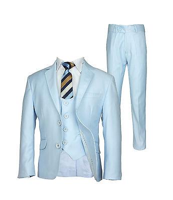 Premium Sky Blue Boys Suit, Slim Fit Prom Communion Wedding Page boy ...