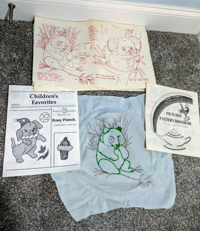 Vintage Lot Easy Punch Embroidery Patterns Iron On Transfers Needle Magic Brochu