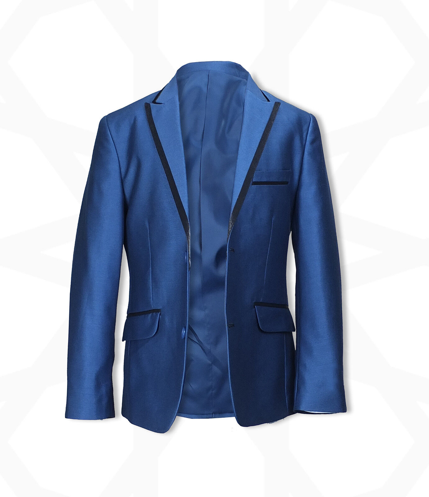 Boys 3PC Page Boy Tonic Blue Suits Wedding Party Prom Kids Piping ...