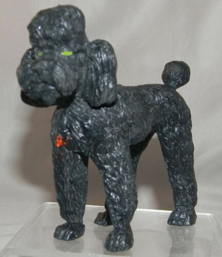 1974 Imperial Toy Black Rubber Poodle Dog Figure #1222