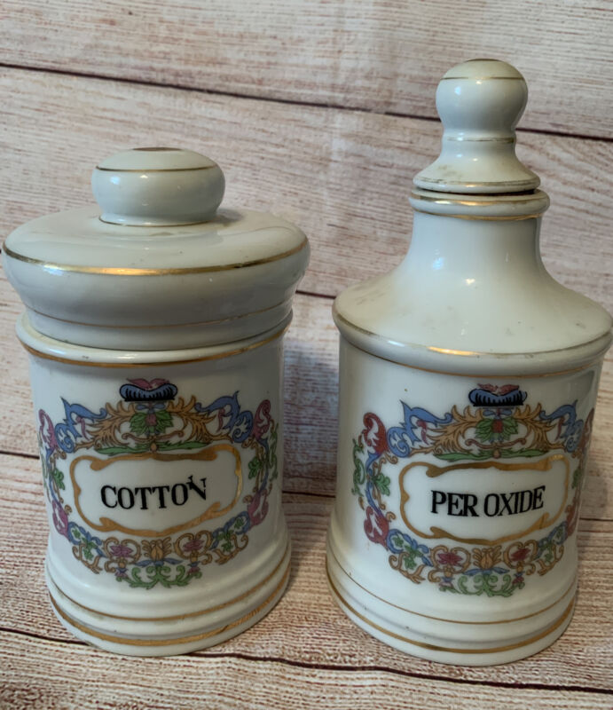 Vintage Porcelain  Medical Apothecary Jars PEROXIDE & Cotton