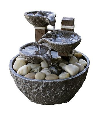 Indoor Water Fountain Tabletop Waterfall Relaxation Cascading LED Home Decor 5.5
