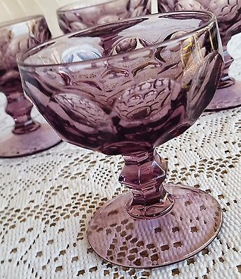 4 Vintage Imperial Glass Ohio Provincial Amethyst Tall Sherbet Champagne Glasses