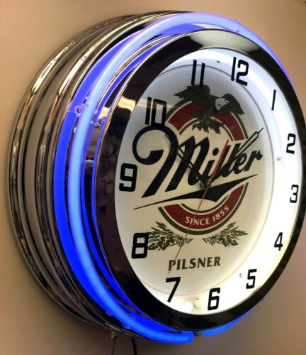 "19"" Miller Pilsner Beer Double Neon Clock Blue Neon Man Cave Garage"