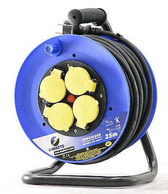 Enrouleur de câble Electrique 25 m intérieur extérieur 4 prises 1.5 mm² IP44